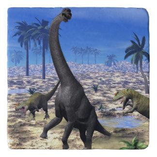 Allosaurus attacking brachiosaurus dinosaur - 3D r Trivet