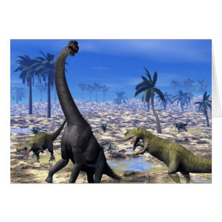 Allosaurus attacking brachiosaurus dinosaur card