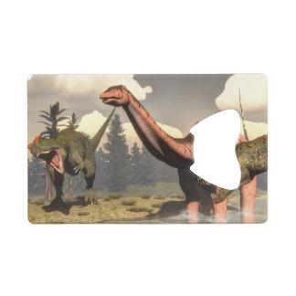 Allosaurus hunting big brontosaurus dinosaur