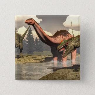 Allosaurus hunting big brontosaurus dinosaur - 3D 15 Cm Square Badge