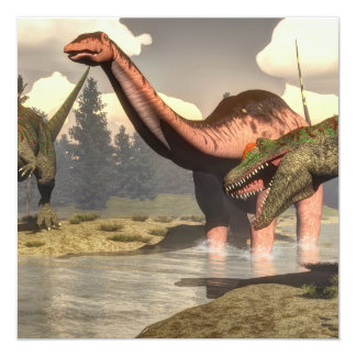 Allosaurus hunting big brontosaurus dinosaur - 3D Card
