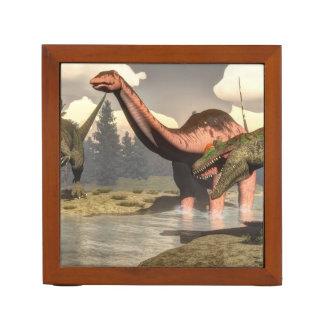 Allosaurus hunting big brontosaurus dinosaur - 3D Desk Organiser