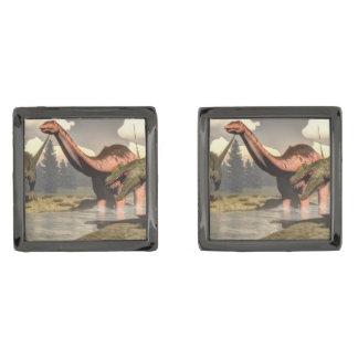 Allosaurus hunting big brontosaurus dinosaur - 3D Gunmetal Finish Cufflinks
