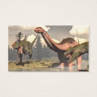 Allosaurus hunting big brontosaurus dinosaur business card