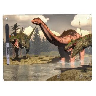 Allosaurus hunting big brontosaurus dinosaur dry erase board with key ring holder