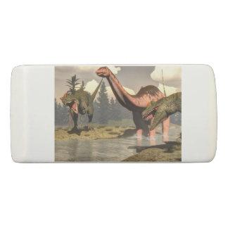 Allosaurus hunting big brontosaurus dinosaur eraser