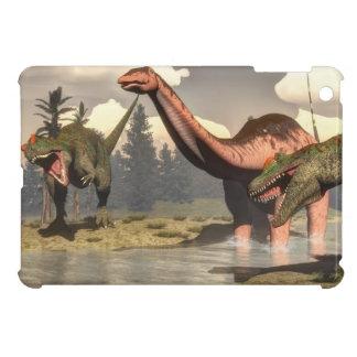Allosaurus hunting big brontosaurus dinosaur iPad mini case
