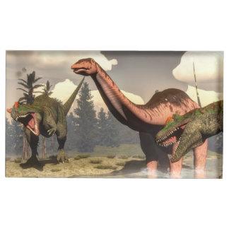 Allosaurus hunting big brontosaurus dinosaur place card holder