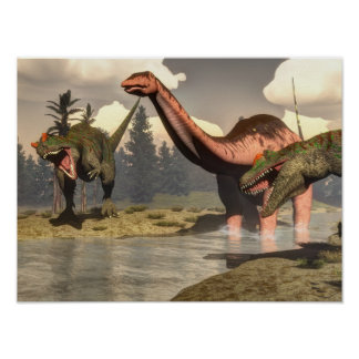Allosaurus hunting big brontosaurus dinosaur poster