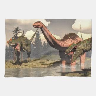 Allosaurus hunting big brontosaurus dinosaur tea towel
