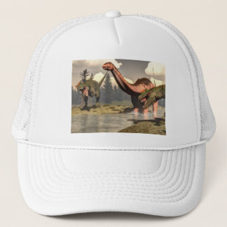 Allosaurus hunting big brontosaurus dinosaur trucker hat