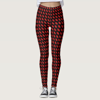 allover abstract design with black background. leggings