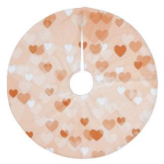 Allover hearts,peach fleece tree skirt