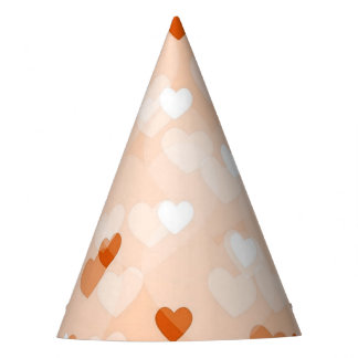 Allover hearts,peach party hat