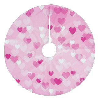 Allover hearts,pink fleece tree skirt
