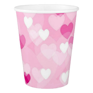 Allover hearts,pink paper cup