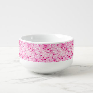 Allover hearts,pink soup mug