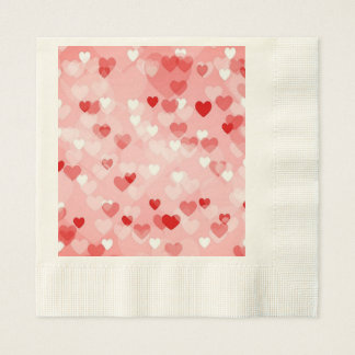 Allover hearts,red disposable napkins