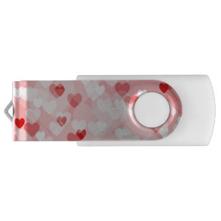 Allover hearts,red USB flash drive