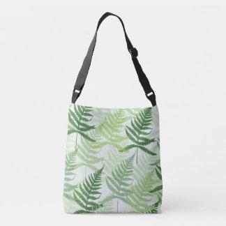 Allover pressure green fern sheets in green tones crossbody bag