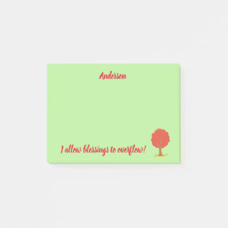 Allow Blessings positive affirmations Red Tree Post-it Notes