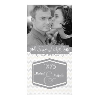 Alloy Grey And Tidal Foam Chevron Save The Date Custom Photo Card