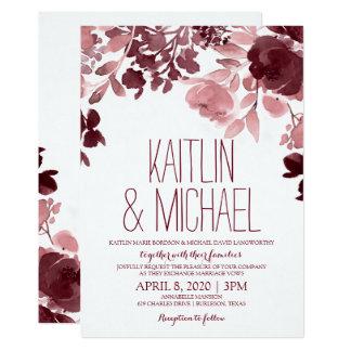Allure Painted Wedding Invitation - Wine & Pink