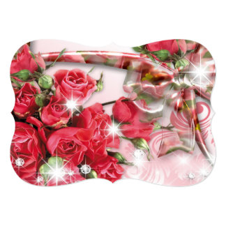 Alluring Pink Roses Collection 13 Cm X 18 Cm Invitation Card