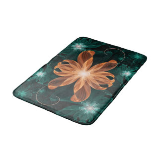 Alluring Turquoise and Orange Fractal Tiger Lily Bath Mat