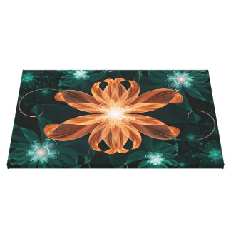 Alluring Turquoise and Orange Fractal Tiger Lily. Canvas Print