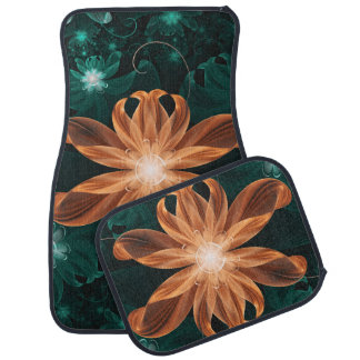 Alluring Turquoise and Orange Fractal Tiger Lily Car Mat