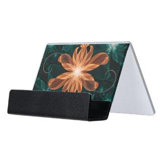 Alluring Turquoise and Orange Fractal Tiger Lily Desk Business Card Holder