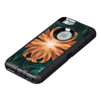 Alluring Turquoise and Orange Fractal Tiger Lily OtterBox Defender iPhone Case