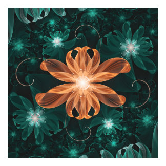 Alluring Turquoise and Orange Fractal Tiger Lily. Photo Print