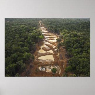 Alluvial Gold Mining. Rainforest, Guyana. Posters