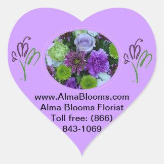 Alma Blooms Purple Bouquet Heart Sticker