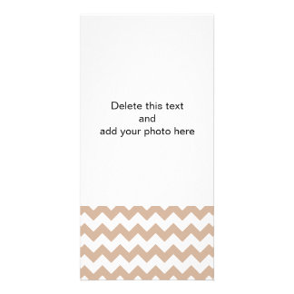Almond and White Chevron Pattern Custom Photo Card