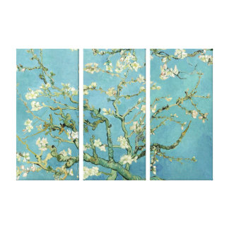 Almond Blossom by Van Gogh Triple Panel Canvas Stretched Canvas Prints