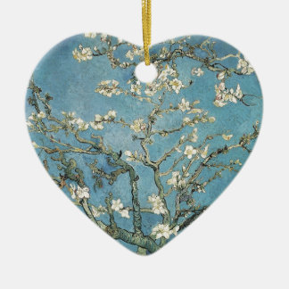 Almond branches in bloom, 1890, Vincent van Gogh Ceramic Heart Decoration