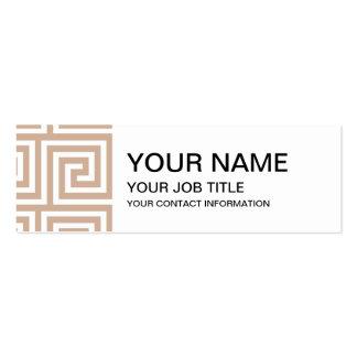 Almond Brown Tan White Greek Key Pattern Business Card Templates