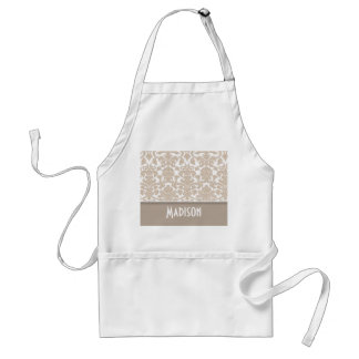 Almond Color Damask Pattern; Personalized Adult Apron