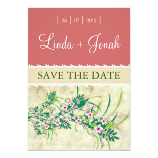 "Almond Pink Flowers invitation 5"" X 7"" Invitation Card"