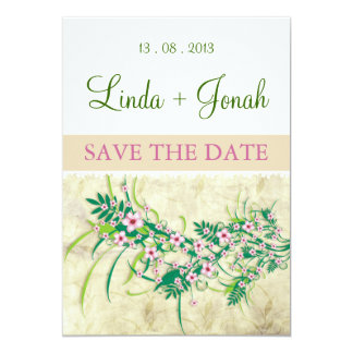 "Almond Pink Flowers (white) invitation 5"" X 7"" Invitation Card"