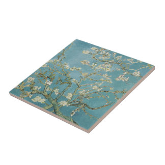 Almond tree in blossom by Vincent Van Gogh Small Square Tile