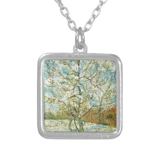 Almond tree silver plated necklace