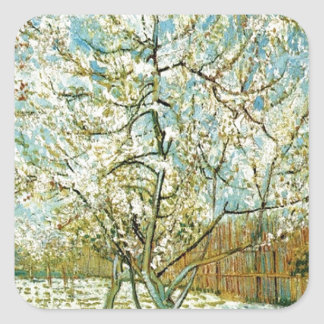 Almond tree square sticker