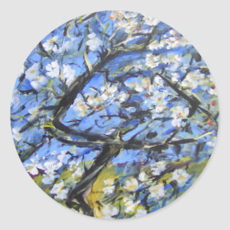Almond trees classic round sticker