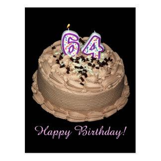 Almost 64... Happy 64th Birthday Cake Postcard