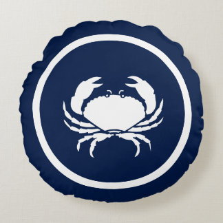 Almost Navy blue and white Lobster CRAB nautical Round Cushion