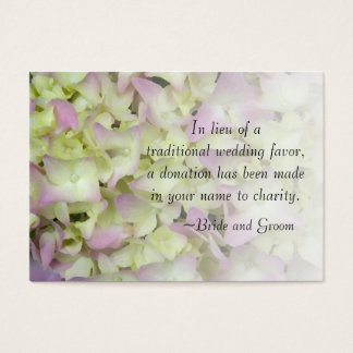 Almost Pink Hydrangea Wedding Charity Favor Card